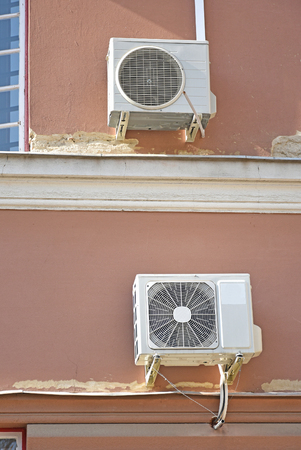 Air conditioners on the wall of a building