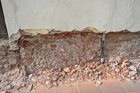 Ruined brick wall of an old building