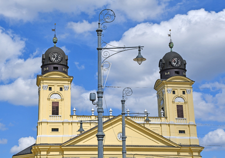 Towers of the Great Church in Debrecen city, Hungary 免版税图像
