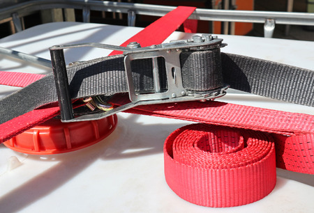 Security buckle and belt closeup