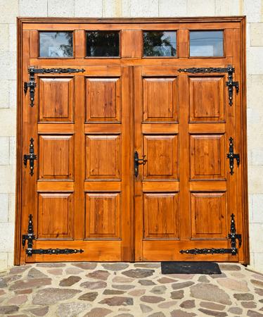 Wooden garage door of a building