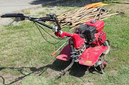 Cultivator machinery on the grass