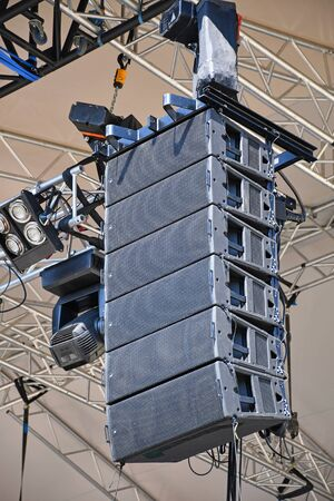 Large speakers of a concert outdoors
