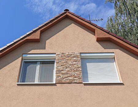 Facade of a family house with windows Stockfoto