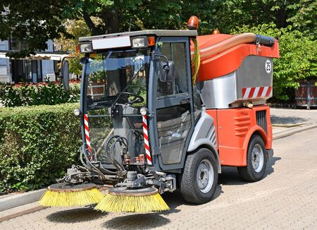 Street cleaner machinery on the road