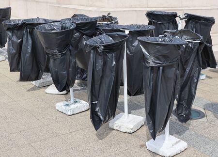 Plastic garbage bags on the street