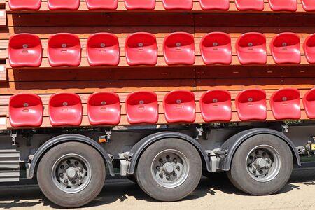Portable bleachers on a truck Reklamní fotografie