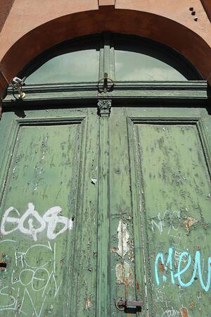 Old green door of a building