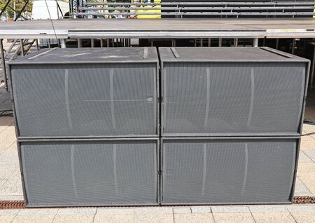Large speakers of the concert 스톡 콘텐츠