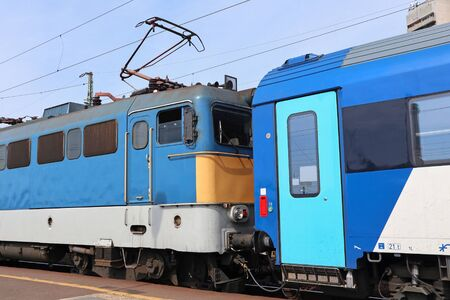 Electric passanger train at the station Stock fotó