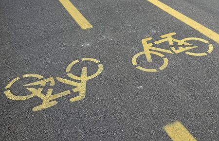 Signs on the bicycle road in the city 版權商用圖片