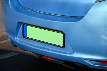 Green license plate of an electric car Stockfoto