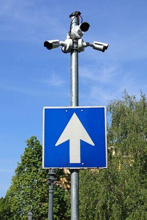 Security cameras on a pole outdoor 版權商用圖片