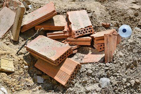 Broken bricks at the construction site