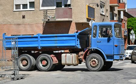 Old truck at the road construction Banco de Imagens