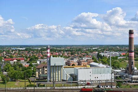 View of Debrecen city, Hungary, power station Banco de Imagens