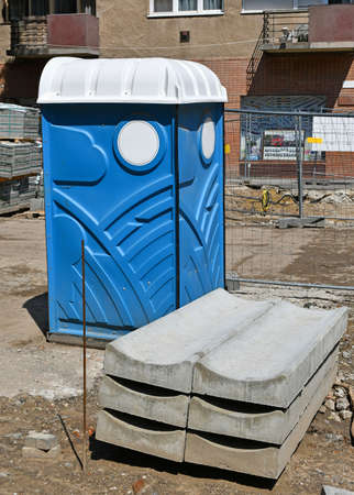 Portable toilet at the road construction area Banque d'images