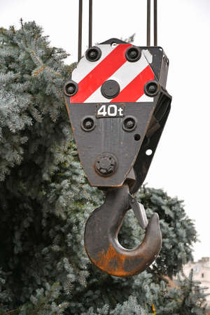 Hook of a large crane vehicle