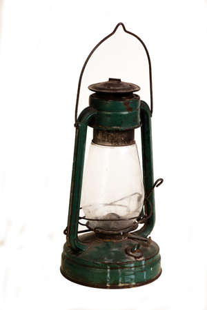 caving: Vintage lamp isolated on a white background