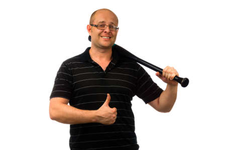 causal: Portrait of a happy man in glasses dressed in causal black shirt holding a baseball bat and thumb up looking at the camera isolated on white background.