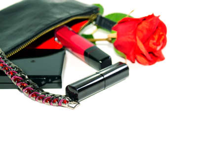 jewerly: Ladys goods: make up bag, cosmetics and fashion jewerly on white background with soft shadows