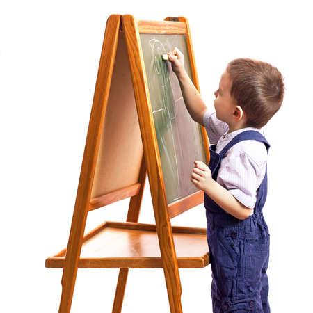 schooltime: children drawchildren draw with chalk on a blackboard white background