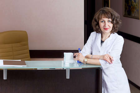 beautiful girl reception desk receptionist professional work photo