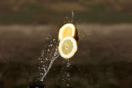 lemon water: Lemon water drops fresh citrus yellow freshness