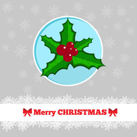 holly berry: Christmas card template with holly berry in the circle