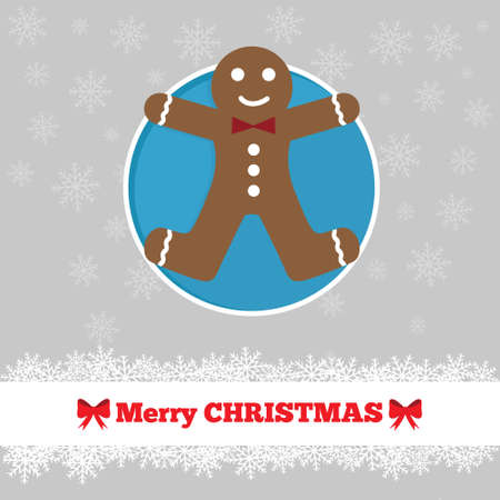 ginger bread: Christmas card template with ginger bread man in the circle