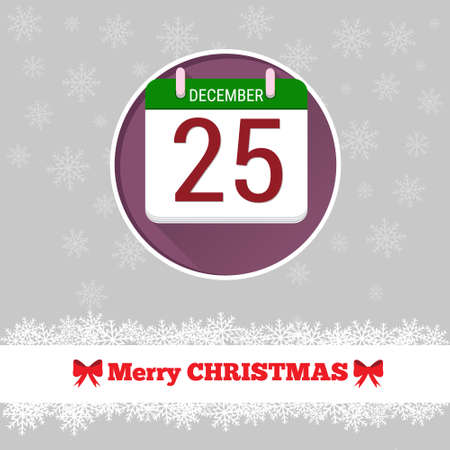 25 december: Christmas card template with calendar in the circle