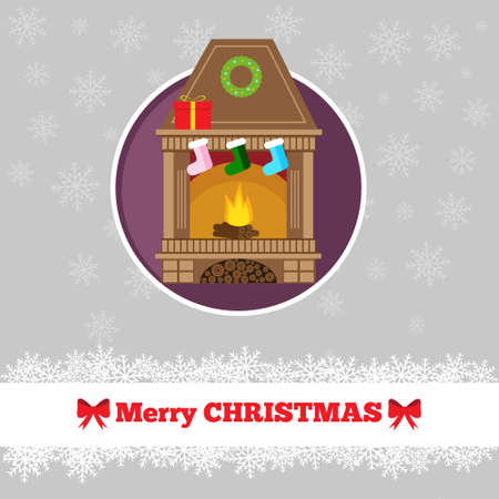 fireplace christmas: Christmas card template with fireplace in the circle