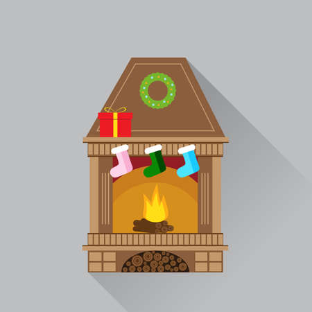 fireplace: Christmas fireplace flat design icon on grey background