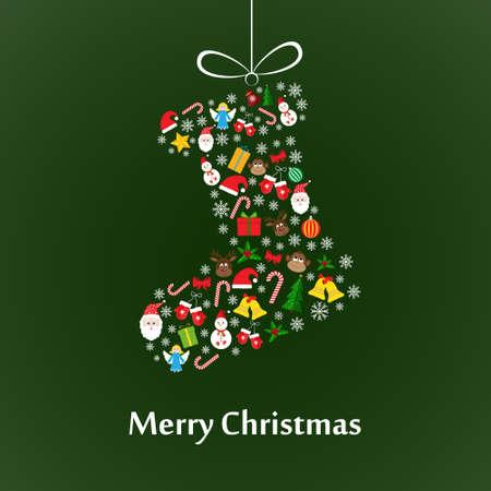 Calcetín de la Navidad hecha de los elementos coloridos de Navidad