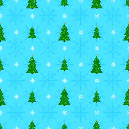 firtrees: Christmas seamless pattern with green fir-trees and snow