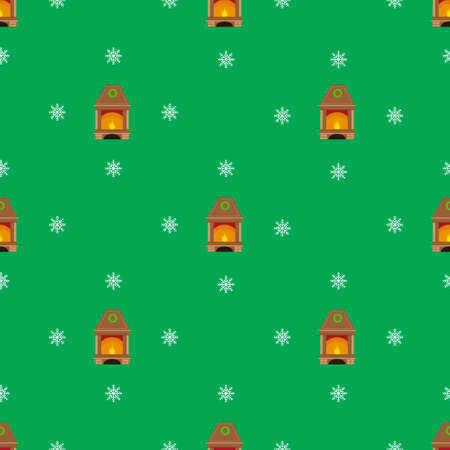 fireplaces: Christmas seamless pattern with fireplaces on green background