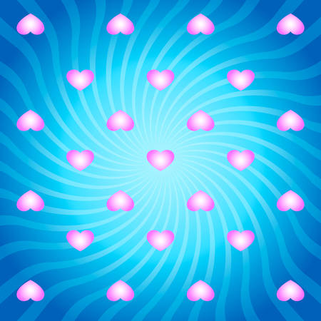 twirls: Blue abstract background with pink hearts and twirls Illustration
