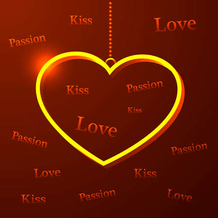 golden heart: Valentines Day card with golden heart and words of love