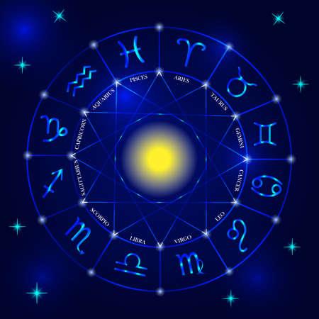 Set of zodiac signs on dark blue background