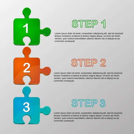 which: Vector jigsaw pieces which show infographic steps Illustration