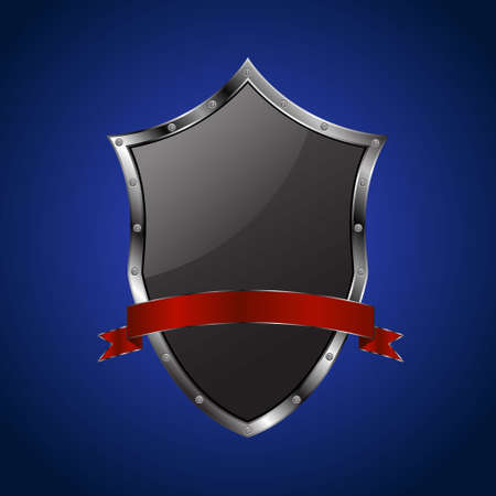 clincher: Metallic black shield with red ribbon on blue background Illustration