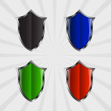 armor: Set of metal shields of different colors