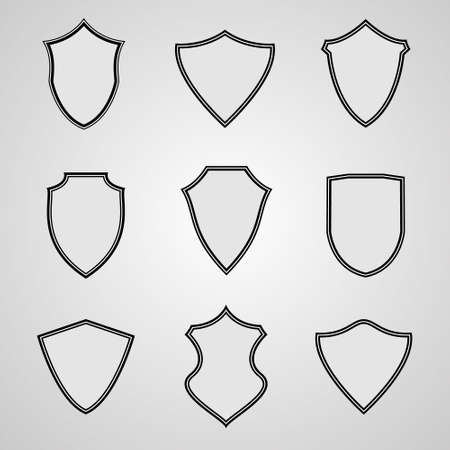 Set of shield icons. Vector illustration for your design
