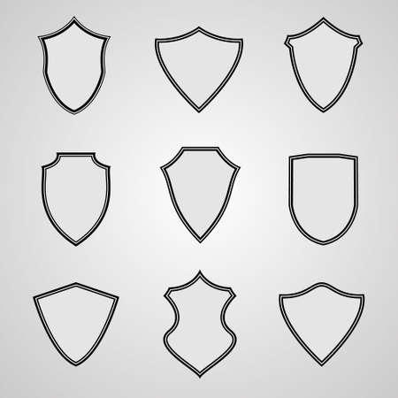 Set van pictogrammen van het schild. Vector illustratie voor uw ontwerp