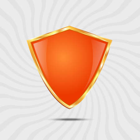 golden shield: Metallic orange golden shield on grey background Illustration