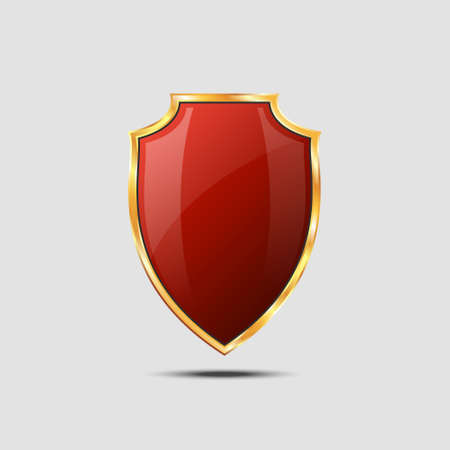 Metallic red golden shield on grey background