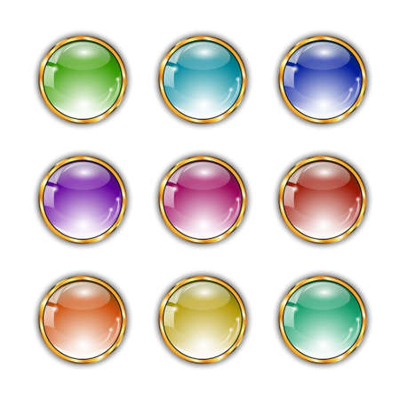 shiny buttons: Shiny colorful buttons set  with glass effect and golden elements