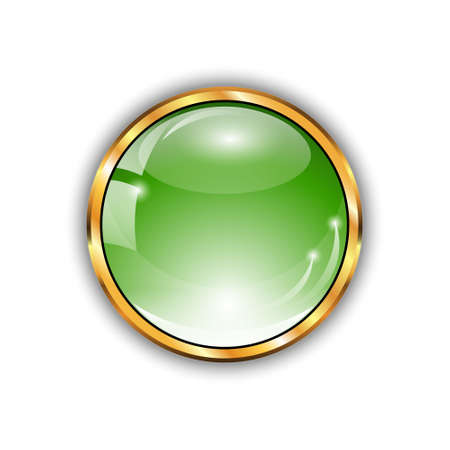 shiny button: Green shiny button with glass effect and golden elements Illustration