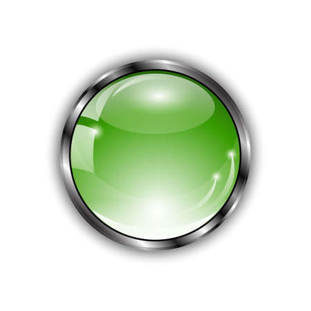 shiny button: Green shiny button with glass effect and metallic elements