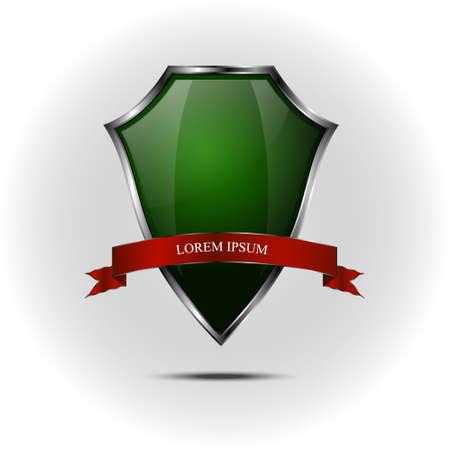 metallic: Metallic green silver shield on grey background